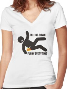 falling down is funny every time man injury Women's Fitted V-Neck T-Shirt