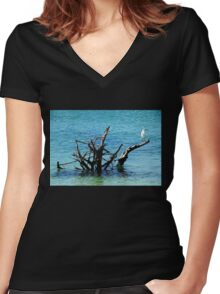 Snowy Perched On Driftwood Women's Fitted V-Neck T-Shirt