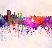 Perth skyline in watercolor background by Pablo Romero