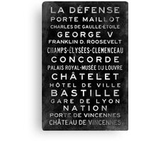 Paris Metro Subway Sign Art Canvas Print