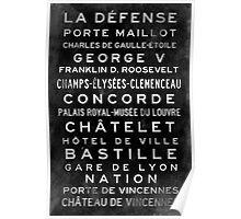 Paris Metro Subway Sign Art Poster