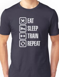 Eat sleep train repeat Unisex T-Shirt