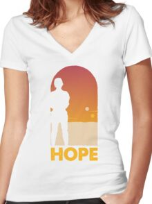 Hope - Tatooine's New Hope! Women's Fitted V-Neck T-Shirt