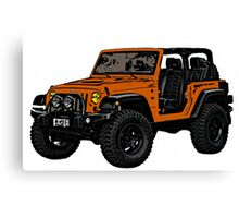 Two door orange Jeep wrangler Canvas Print