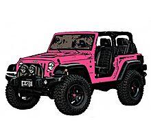 Pink two door Jeep wrangler Photographic Print