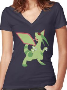Flygon Minimalist Women's Fitted V-Neck T-Shirt