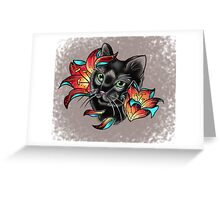 Cat and Lilies  Greeting Card