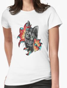 Cat and Lilies  Womens Fitted T-Shirt