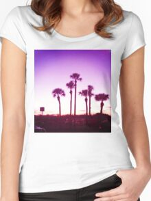 Trippy Orlando Beach Sunset Women's Fitted Scoop T-Shirt