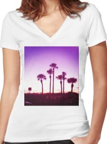 Trippy Orlando Beach Sunset Women's Fitted V-Neck T-Shirt