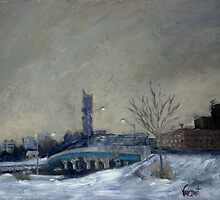 Camden Overpass In Winter by Monica Vanzant