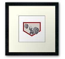 Weightlifter Lifting Barbell Shield Retro Framed Print