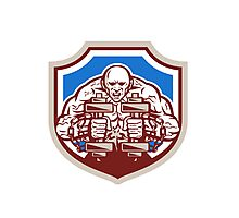 Strongman Lifting Dumbbells Shield Retro Photographic Print