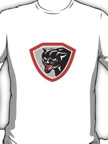Black Cat Panther Head Shield T-Shirt