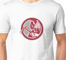 Native American Tomahawk Warrior Circle Unisex T-Shirt