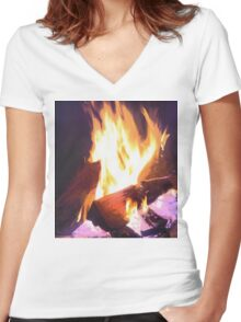 Let it Burn Women's Fitted V-Neck T-Shirt