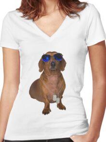 Dachshund Sausage Dog wearing Aviators Women's Fitted V-Neck T-Shirt