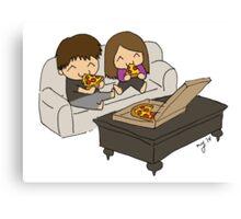 Us & Pizza Canvas Print