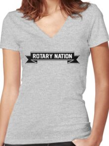 Rotary Nation Ribbon T-Shirt Women's Fitted V-Neck T-Shirt