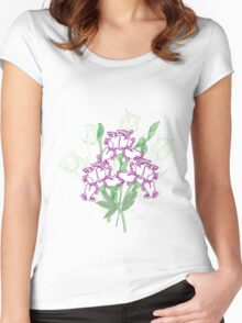 White Blue Irises and Tulips Women's Fitted Scoop T-Shirt