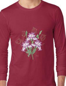 White Blue Irises and Tulips Long Sleeve T-Shirt