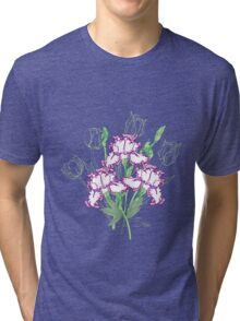 White Blue Irises and Tulips Tri-blend T-Shirt