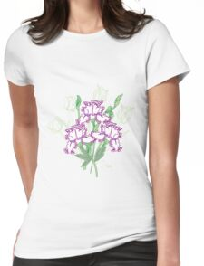 White Blue Irises and Tulips Womens Fitted T-Shirt
