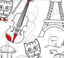 Music, City and Tour Eiffel Sticker