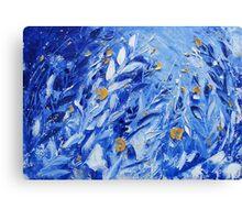 Blue Abstract Flower Painting Wall Decor by Ekaterina Chernova Canvas Print