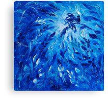 Blue Phoenix Abstract Art Flower Paintting by Ekaterina Chernova Canvas Print