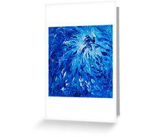 Blue Phoenix Abstract Art Flower Paintting by Ekaterina Chernova Greeting Card