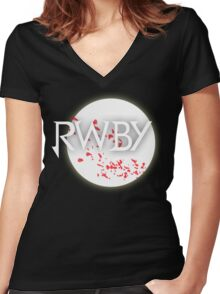 RWBY red moon blossoms Women's Fitted V-Neck T-Shirt