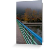 Bridge with Green and Blue Rail Greeting Card