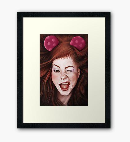 Wink girl Framed Print