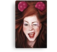 Wink girl Canvas Print