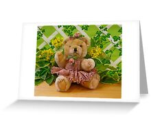 Teddy Girl with Spring Flowers Greeting Card