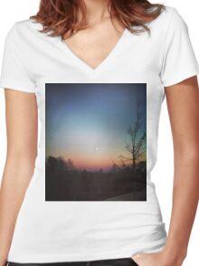 Winter Sunset Women's Fitted V-Neck T-Shirt