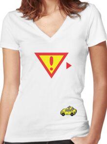 Onett Warning - Taxi Women's Fitted V-Neck T-Shirt