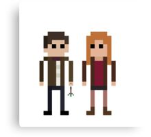 8-Bit Heros - 11th Doctor and Amy Canvas Print