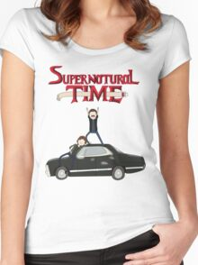 Supernatural Adventure Time Women's Fitted Scoop T-Shirt