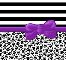 Dog Paws, Traces, Stripes - Ribbon, Bow - White Black Purple by sitnica