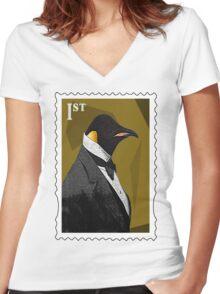 Old Timey Penguin Women's Fitted V-Neck T-Shirt