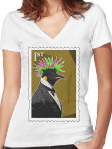Punk Penguin Women's Fitted V-Neck T-Shirt