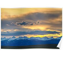 Colorado Rocky Mountain Front Range Sunset Gold Poster