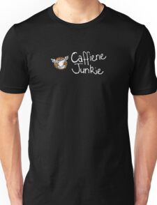 Caffiene junkie white writing Unisex T-Shirt