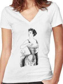 Elegant Edwardian Corset Tee Women's Fitted V-Neck T-Shirt