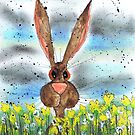 HARE IN DAFFODILS by Hares & Critters