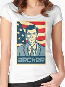american archer red white and blue Women's Fitted Scoop T-Shirt