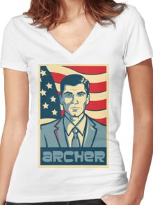 american archer red white and blue Women's Fitted V-Neck T-Shirt