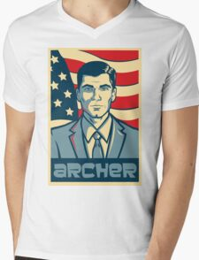 american archer red white and blue Mens V-Neck T-Shirt